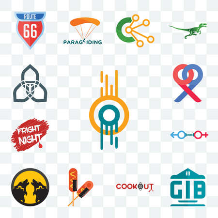 Set Of 13 transparent editable icons such as double o, generic bank, cookout, corn dog, pack wolf, sex store, fright night, p, triquetra, web ui icon Illusztráció