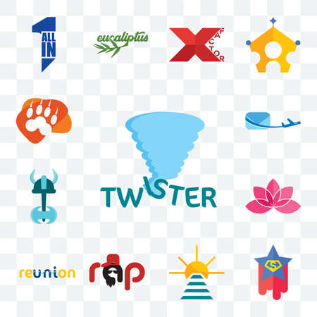 Set Of 13 transparent editable icons such as twister, superstar, rise and shine, rap, reunion, lotos, viking, air mail, lion paw, web ui icon pack