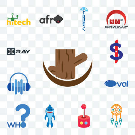 Set Of 13 transparent editable icons such as tree stump, dream catcher, retropie, shark mascot, who, oval, audio visual, us dollar, xray, web ui icon pack Stock Illustratie