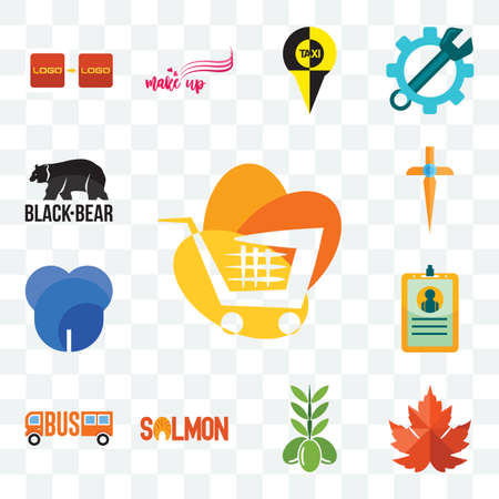 Set Of 13 transparent editable icons such as trolley, maple leaf, olive, salmon, , id card, dent, church cross, black bear, web ui icon pack