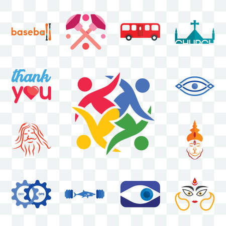 Set Of 13 transparent editable icons such as unity, durga, neighborhood watch, gymshark, devops, hanuman, patanjali, eye, thank you, web ui icon pack Иллюстрация