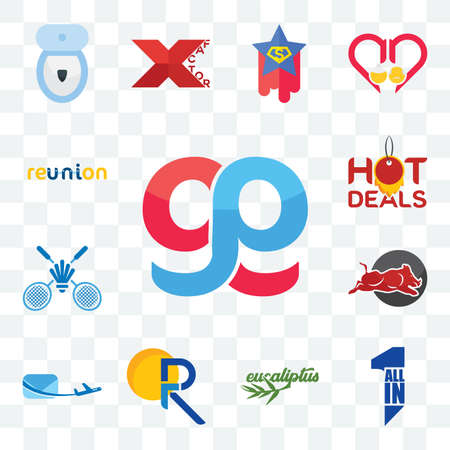 Set Of 13 transparent editable icons such as gg, all in one, eucalyptus, pr, air mail, wild hog, badminton club, hot deals, reunion, web ui icon pack Stock Illustratie