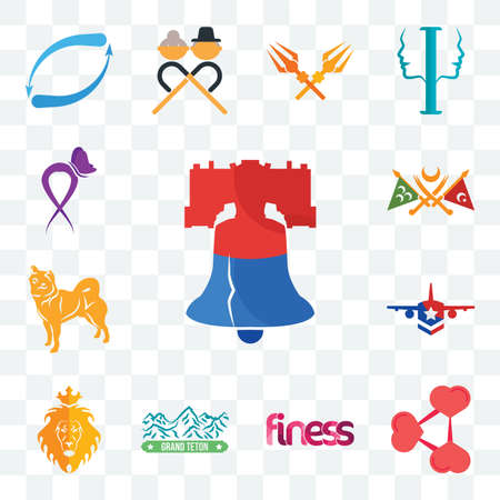Set Of 13 transparent editable icons such as liberty bell, share png, finess, grand teton, judah and the lion, honor flight, shiba inu, ottoman empire, lupus, web ui icon pack