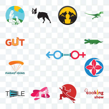 Set Of 13 transparent editable icons such as sex store, cooking show, wushu, pinup, tele, healer, paragliding, croc, gut, web ui icon pack