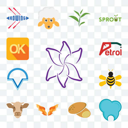 Set Of 13 transparent editable icons such as lily flower, dental clinic, potato, angel wings, cow head, honey bee, v circle, petrol, , web ui icon pack