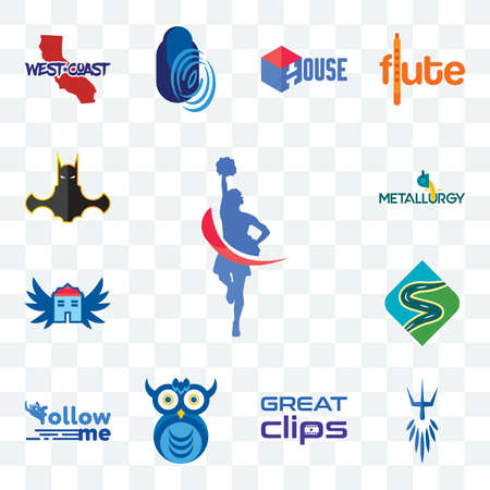 Set Of 13 transparent editable icons such as cheerleader, poseidon, great clips, owl company, follow me, winding road, house with wings, metallurgy, bat man, web ui icon pack