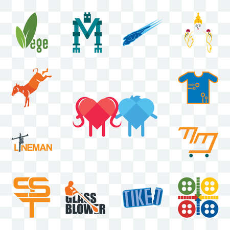 Set Of 13 transparent editable icons such as soulmate, ludo, tiket, glass blower, sst, mini mart, lineman, teechip, kicking mule, web ui icon pack 版權商用圖片 - 152414151