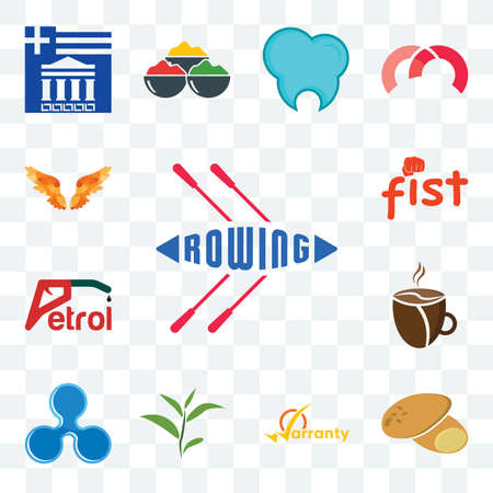 Set Of 13 transparent editable icons such as rowing, potato, warranty, tea leaf, ripple, cafeteria, petrol, fist, angel wings, web ui icon pack