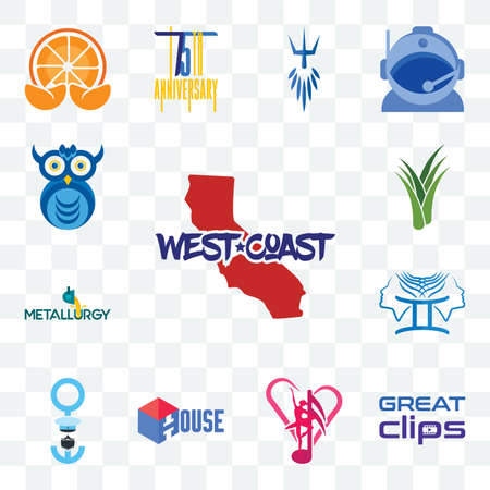 Set Of 13 transparent editable icons such as west coast, great clips, culture club, house, seaman, , metallurgy, aloe vera, owl company, web ui icon pack