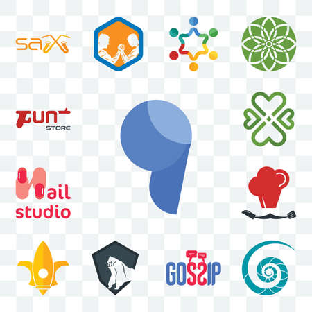 Set Of 13 transparent editable icons such as comma, nautilus shell, gossip, king kong, lis, master chef, nail studio, four  hearts, gun store, web ui icon pack