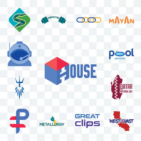 Set Of 13 transparent editable icons such as house, west coast, great clips, metallurgy, ruble, qatar national day, poseidon, pool service, astronaut helmet, web ui icon pack