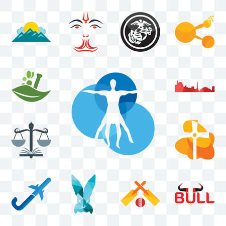 Set Of 13 transparent editable icons such as vitruvian man, bull, cricket, deceit, pilot flying j, church, naacp, leipzig hd, ayurvedic, web ui icon pack Çizim