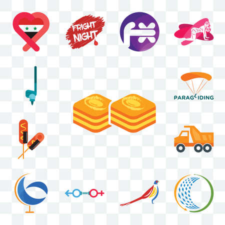 Set Of 13 transparent editable icons such as baklava, general trading, pheasant, sex store, g globe, tipper, corn dog, paragliding, , web ui icon pack