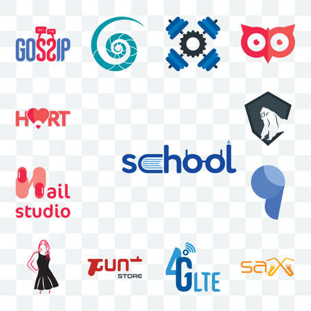 Set Of 13 transparent editable icons such as school, sax, 4g lte, gun store, little black dress, comma, nail studio, king kong, hart, web ui icon pack 向量圖像