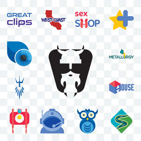 Set Of 13 transparent editable icons such as vikings, winding road, owl company, astronaut helmet, food photography, house, poseidon, metallurgy, contact lens, web ui icon pack Stock Illustratie