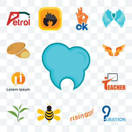 Set Of 13 transparent editable icons such as dental clinic, question, rising, honey bee, tea leaf, teacher, , angel wings, potato, web ui icon pack 版權商用圖片 - 152415454