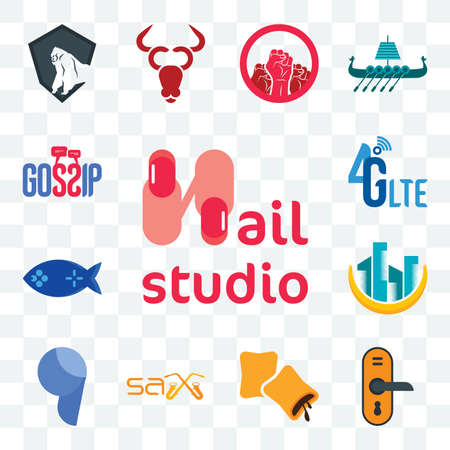 Set Of 13 transparent editable icons such as nail studio, door knob, krave, sax, comma, construction, fishing game, 4g lte, gossip, web ui icon pack