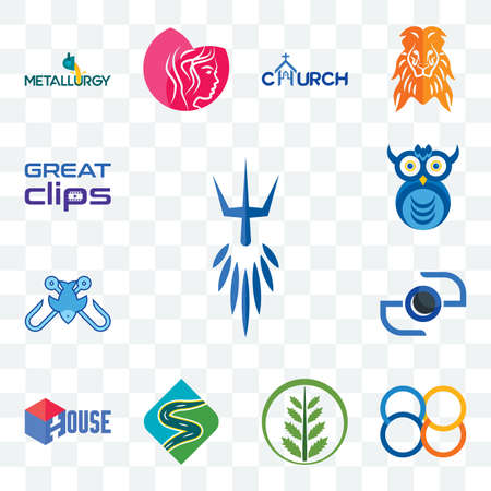 Set Of 13 transparent editable icons such as poseidon, 88, fern, winding road, house, camera, fishing tournament, owl company, great clips, web ui icon pack Иллюстрация