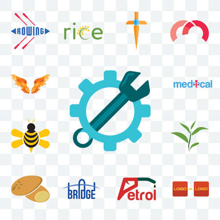 Set Of 13 transparent editable icons such as spanner, turn, petrol, bridge, potato, tea leaf, honey bee, medical, angel wings, web ui icon pack