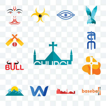 Set Of 13 transparent editable icons such as church, baseball, leipzig hd, a & w, mountain, bull, ain, cricket, web ui icon pack