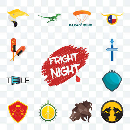 Set Of 13 transparent editable icons such as fright night, pack wolf, bear profile, durian, man u, s.h.i.e.l.d., tele, christian school, corn dog, web ui icon Stockfoto - 152415535