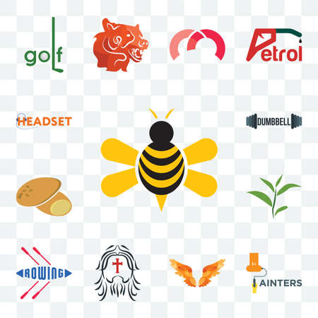 Set Of 13 transparent editable icons such as honey bee, painters, angel wings, , rowing, tea leaf, potato, dumbbell, headset, web ui icon pack