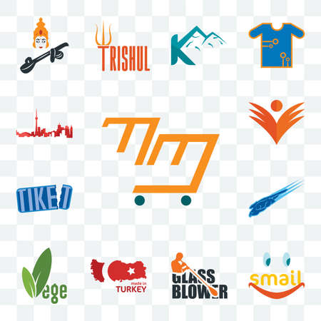 Set Of 13 transparent editable icons such as mini mart, smail, glass blower, made in turkey, vege, peregrine falcon, tiket, ganpati, toronto skyline, web ui icon pack Çizim