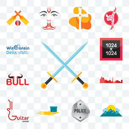 Set Of 13 transparent editable icons such as excalibur, mountain, generic police, cash on delivery, guitar center, leipzig hd, bull, 1024x1024, wisconsin dells, web ui icon pack Stock Illustratie