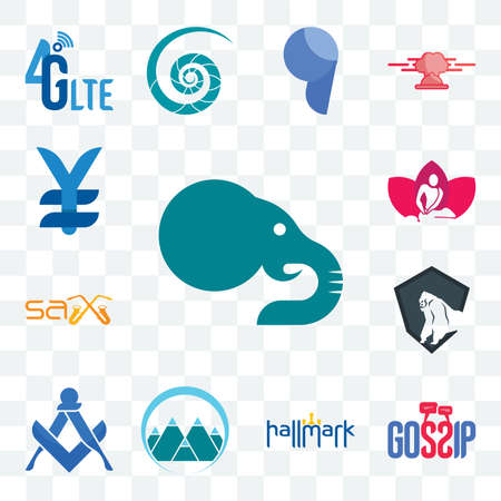 Set Of 13 transparent editable icons such as elephant, gossip, hallmark, mont, square and compass, king kong, sax, massage therapist, japan currency, web ui icon pack
