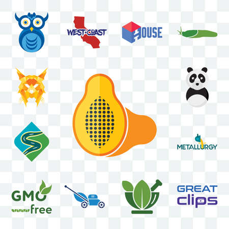 Set Of 13 transparent editable icons such as papaya, great clips, ayurvedic, mower, gmo free, metallurgy, winding road, panda mascot, lynx, web ui icon pack
