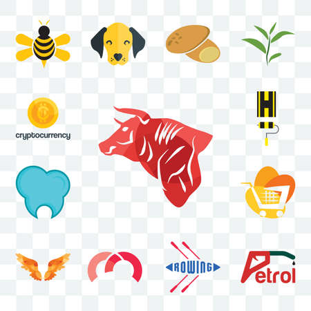Set Of 13 transparent editable icons such as bull, petrol, rowing, m, angel wings, trolley, dental clinic, highway, cryptocurrency, web ui icon pack
