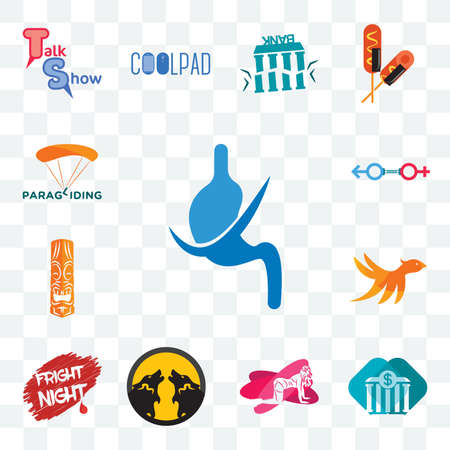 Set Of 13 transparent editable icons such as gastroenterology, all bank, pinup, pack wolf, fright night, bird m, tiki, sex store, paragliding, web ui icon Иллюстрация