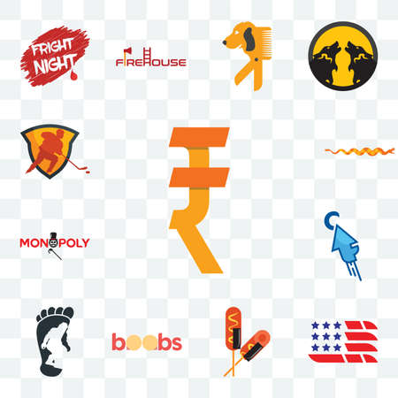 Set Of 13 transparent editable icons such as rupee, american flag, corn dog, boobs, bigfoot, fastclick, monopoly, rattlesnake, power play hockey, web ui icon pack