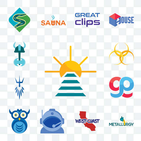 Set Of 13 transparent editable icons such as rise and shine, metallurgy, west coast, astronaut helmet, owl company, gg, poseidon, hazardous waste, viking, web ui icon pack Stock Illustratie