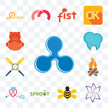 Set Of 13 transparent editable icons such as ripple, lily flower, honey bee, sprout, nursing, bonfire, baseball team, dental clinic, cute bear, web ui icon pack 向量圖像