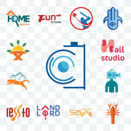 Set Of 13 transparent editable icons such as camera, crawfish, sax, landlord, , cameraman, mountain lion, nail studio, farm to table, web ui icon pack 版權商用圖片 - 152415892