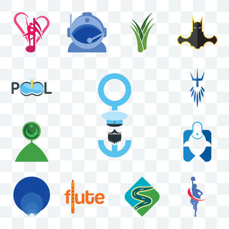 Set Of 13 transparent editable icons such as seaman, cheerleader, winding road, flute, golden ratio, fishing store, muslim crescent, poseidon, pool company, web ui icon pack
