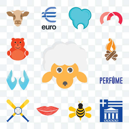 Set Of 13 transparent editable icons such as, greek, honey bee, lip, baseball team, two hands, bonfire, cute bear, web ui icon pack