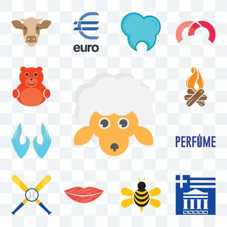 Set Of 13 transparent editable icons such as, greek, honey bee, lip, baseball team, two hands, bonfire, cute bear, web ui icon pack