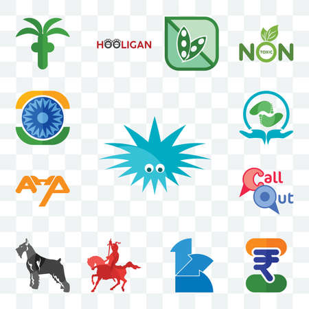 Set Of 13 transparent editable icons such as urchin, indian rupee, 111, knight on horseback, schnauzer, callout, ahp, acupressure, ashok chakra, web ui icon pack