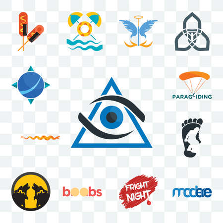 Set Of 13 transparent editable icons such as third eye, modere, fright night, boobs, pack wolf, bigfoot, rattlesnake, paragliding, geodesy, web ui icon Stock Illustratie