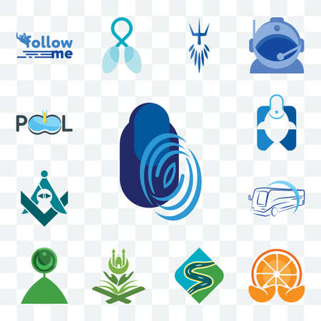Set Of 13 transparent editable icons such as thumbprint, mandarin, winding road, quran, muslim crescent, bus company, freemasons, fishing store, pool web ui icon pack Stock fotó - 152415942