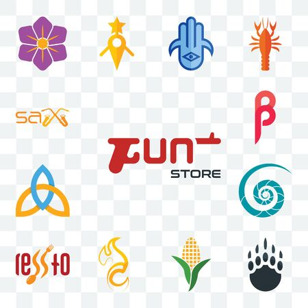 Set Of 13 transparent editable icons such as gun store, grizzly claw, corn stalk, c fire, , nautilus shell, holy trinity, sax, web ui icon pack