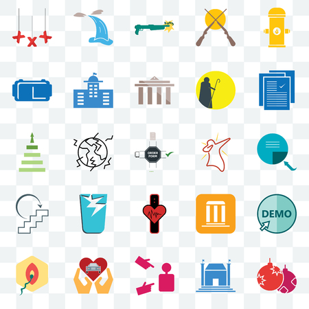 Set Of 25 transparent icons such as christmas bulb, municipal, advisor, car dealer, penetration, specification, dab, tracker, next steps, vr headset, shotgun, waterfall, web UI transparency icon pack