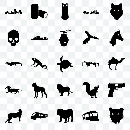 Set Of 25 transparent icons such as tiger face, train, bulldog, cheetah, horse utah, lion, dachshund, simple skull, tank top, beer can, web UI transparency icon pack