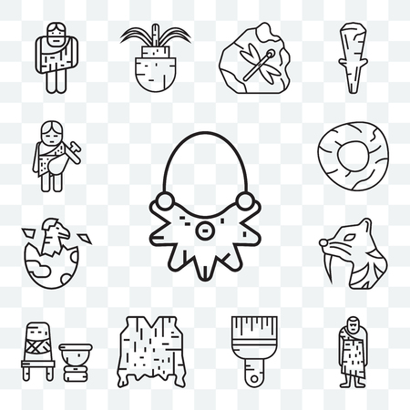 Set Of 13 transparent editable icons such as Necklace, Troglodyte, Brush, Skin, Mortar, Saber toothed tiger, Dinosaur, Wheel, web ui icon pack