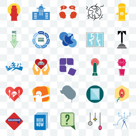 Set Of 25 transparent icons such as telecom, christmas bulb, inquiry, book now, grammar, concierge, penetration, car dealer, hospitality, cost uction, municipal, web UI transparency icon pack