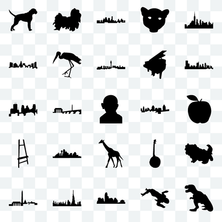 Set Of 25 transparent icons such as t rex, crime scene body, austin, dubai, dc, cincinnati, giraffe, painter easel, charlotte, kansas city, shih tzu, web UI transparency icon pack Illustration
