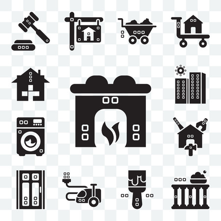 Set Of 13 transparent editable icons such as Hearth, Facade, Painted, House things, Door, Reparation, Cleaned, Property, Health care, web ui icon pack Vector Illustratie