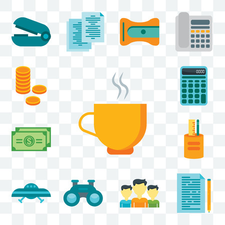 Set Of 13 transparent editable icons such as Coffee, Documentation, Team, Binoculars, Ufo, Writing tool, Dollar bill, Calculator, Coins, web ui icon pack